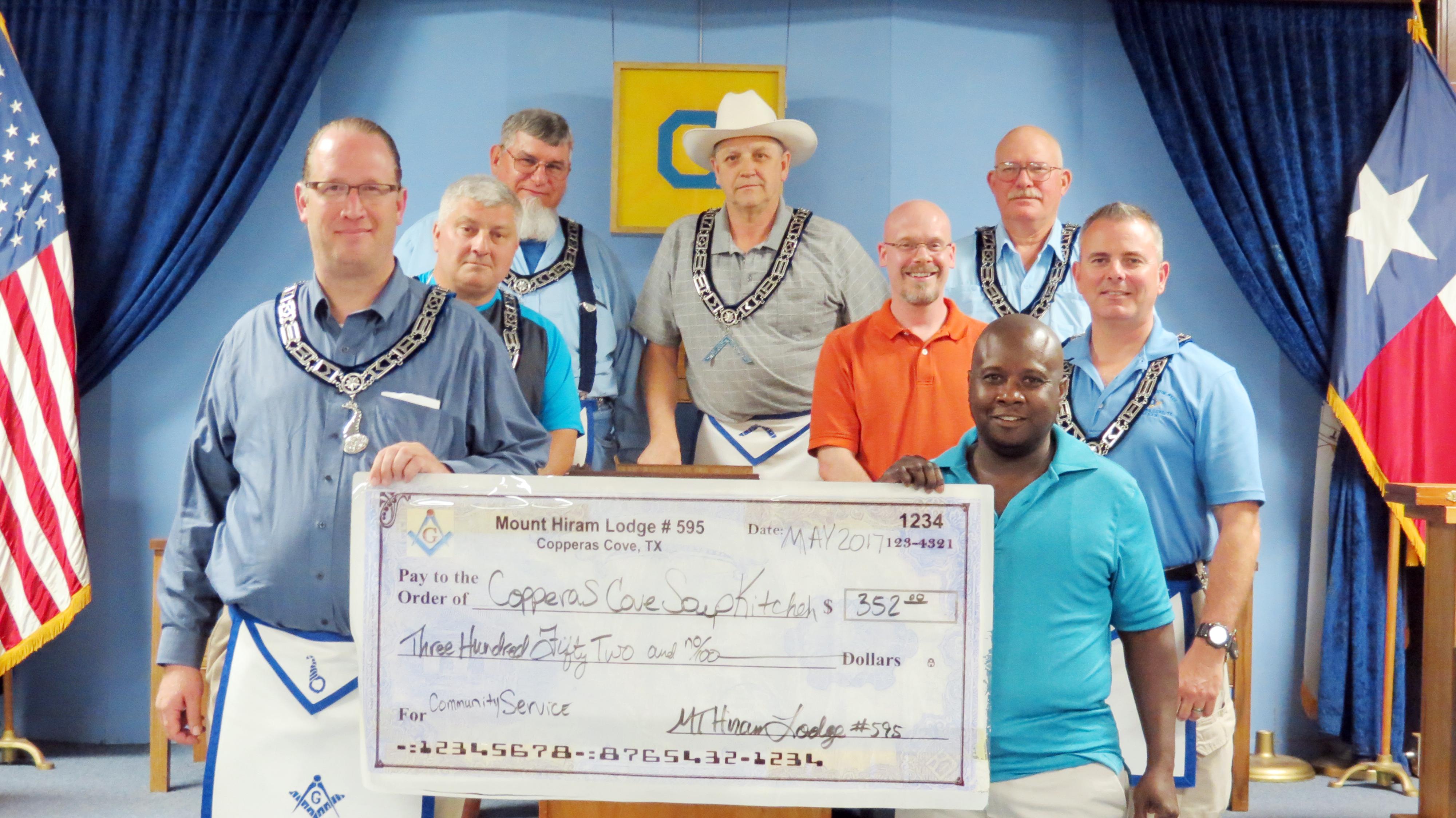 Masonic Lodge presents check to soup kitchen | Copperas Cove Leader ...