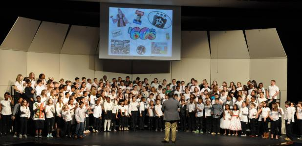 CPE Decades Music Concert: Clements/Parsons Elementary 4th and 5th grade students presented forty years of music in a two hour concert in Lea Ledger Auditorium. The students are under the direction of music teachers Ivan Calzada and Tino Sanchez.