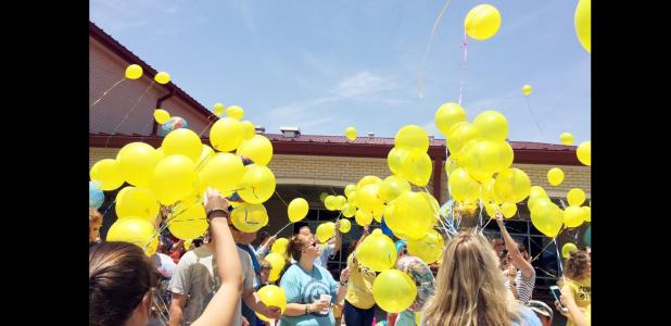 CCLP/DAVID J. HARDIN - A balloon release was the final event at the birthday party and celebration of life for Connor Hedge on Saturday at House Creek Elementary School.