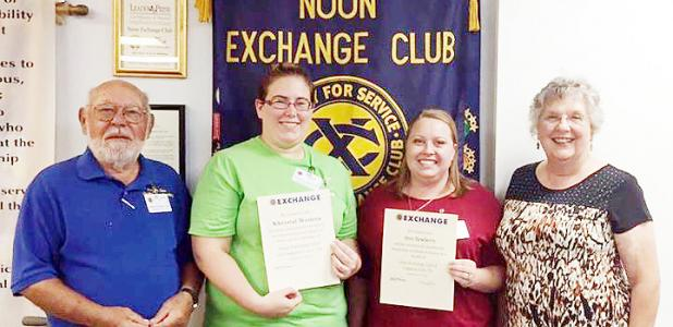 Courtesy Photo - Khrystal Westeen and Arin Newberry were inducted into the Noon Exchange Club of Copperas Cove on September 16. LEFT to RIGHT: Sponsor Past President Sandor Vegh, Khrystal Westeen, Arin Newberry and Sponsor Past Secretary Pat Thomas.