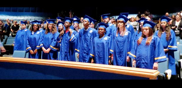 CCLP/DAVID J HARDIN - Crossroads High School 2016 Spring Graduates, during the ceremony held Thursday at the Lea Ledger Auditorium in Copperas Cove,