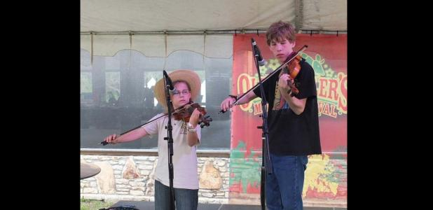 Courtesy Photo - Chet and Kaya Fagerstrom, the Twin Fiddle Kids, will perform at Pearl's bluegrass music festival.