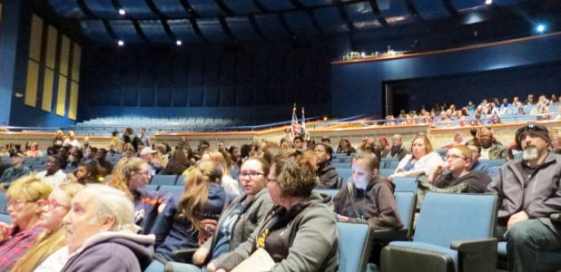 CCLP/DAVID J. HARDIN - Students and parents fill Lea Ledger Auditorium for Sneak Peek at the Dawg house event.