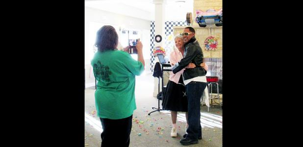 CCLP/BRITTANY FHOLER - Stoney Brook resident Penny Weaver and culinary director Warrell Spence were crowned Queen and King of the Sock Hop at Stoney Brook Assisted Living's sock hop themed 6th anniversary party on Friday.