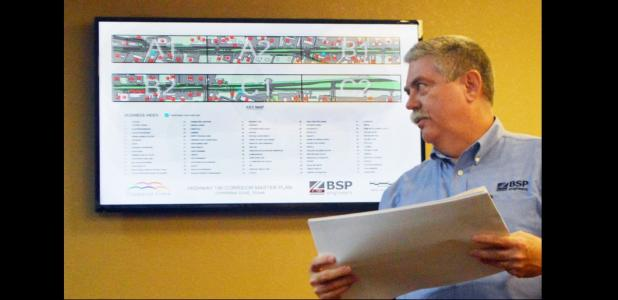 CCLP/LYNETTE SOWELL - Jerry Landes with BSP Engineers shows a copy of the first phase of a future plan for Business 190 at the city council on Thursday night.