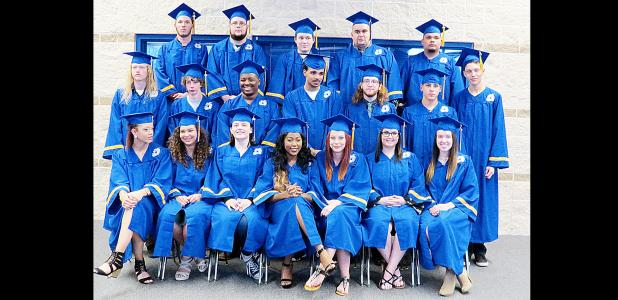 CCLP/DAVID J. HARDIN - Fall 2016 graduates of Crossroads High School pose for a picture before the ceremony last Thursday night at Copperas Cove High School' s Lea Ledger Auditorium. 25 students received their diplomas.