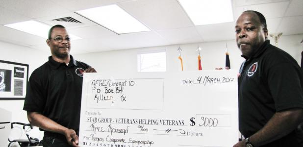 CCLP/PAMELA GRANT PCSI presented a check to Star Group – Veterans Helping Veterans at the Group's monthly meeting on Saturday.