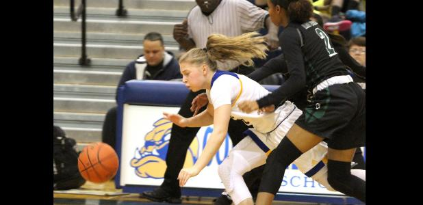 CCLP/TJ MAXWELL - Copperas Cove sophomore Madison Griffon falls to the floor after colliding with Ellison defenders Dalia Planas (2) and Madison Hattix-Covington in the third quarter of the Lady Dawgs' 52-45 loss to the Lady Eagles Friday at Bulldawg Gymnasium.