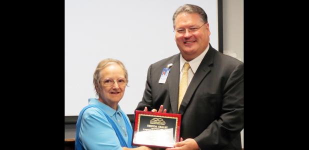 CCLP/DAVID J. HARDIN - Brenda Graley is retiring after 44 years as a teacher, 40 of those with CCISD. She received an honor from the Board of Trustees during their meeting June 14.