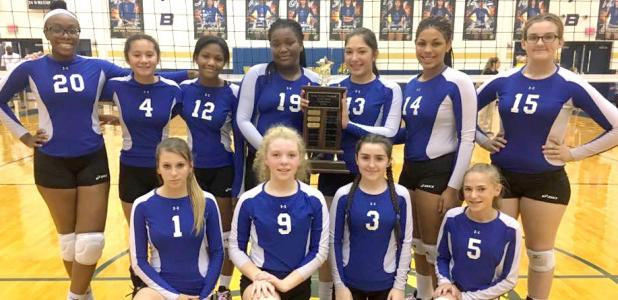 Courtesy photo - The Copperas Cove Junior High 8th grade 'A' team poses with the city championship plaque after winning the title. The Cove 'B' team also won. The SC Lee Lady Cougars 7th grade 'A' and 'B' teams swept the 7th grade contests.