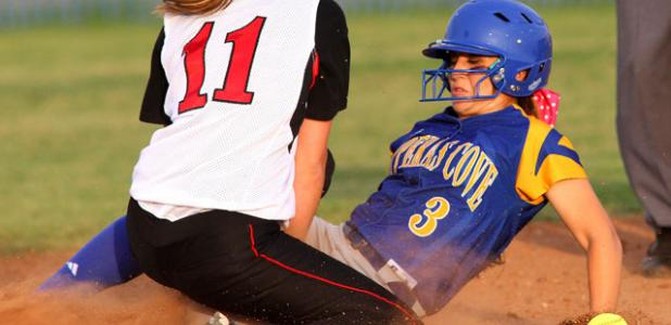 Copperas Cove's Eliana Doubleday slides in to second base in front of Harker Heights' Destiny Perry in the first inning of their 18-2 blowout of Harker Heights on Friday