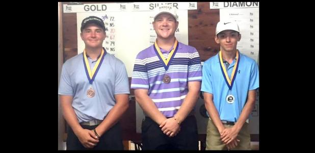COURTESY PHOTO - Cove golfers, from left, Caden McAnally, Bryce Anderson and Dustin Dean all finished in the top four of theBeltway Junior Tour event at the Hills at Cove Golf Course on Wednesday. McAnally won last week at Blackhawk Golf Club in Pflugerville and Dean won two weeks ago at Sammons in Temple.