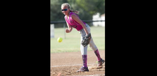 CCLP/DAVID MORRIS - Daelyn Ellis of Lampasas, pitcher for the 15-and-under Cove Chaos, makes a throw during the 15U District Softball Tournament in McGregor on Wednesday.