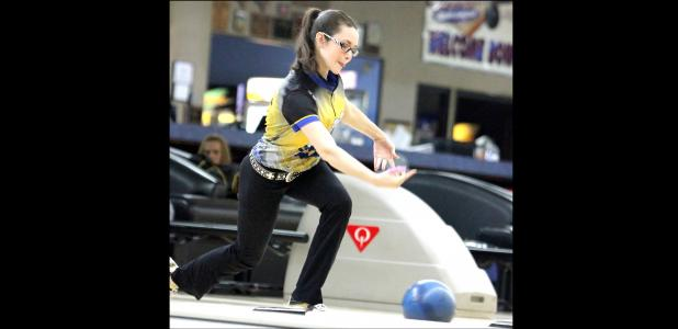 CCLP/TJ MAXWELL - Cove senior Dakota Stutz sends a shot down the lane during the Central Texas District finale Tuesday at Hallmark Lanes in Killeen. Stutz qualified for the regional tournament set for Sunday March 6 at Hallmark Lanes. Stutz will compete as an individual as well as with her coed teammates.