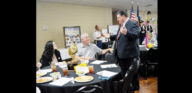 CCLP/LYNETTE SOWELL - CCISD Superintendent Dr. Joe Burns greets members of the Texas A&M Central Texas Education department prior to the annual State of the District luncheon, Wednesday at the Copperas Cove Civic Center. Burns shared the progress of Vision 2020 the staff of the district have worked on for two years and the accomplishments it has brought to the district.