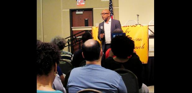CCLP/BRITTANY FHOLER - Dr. Leonard Moore, a history professor at the University of Texas- Austin, was the keynote speaker at the Center for African-American Studies and Research Lecture Series event held last Thursday evening at the CTC Anderson Center.