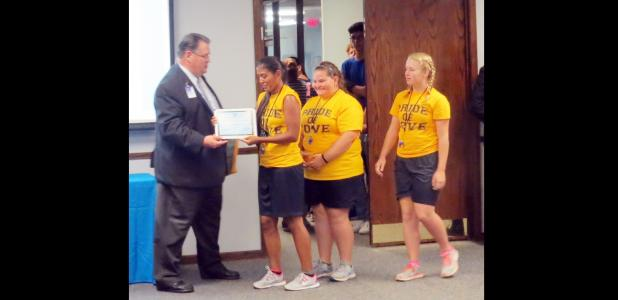 CCLP/BRITTANY FHOLER - Drum majors of the Pride of Cove Marching Band and Color Guard are recognized for their work at the CCISD Convocation last month at the CCISD Board of Trustees meeting held Tuesday evening.