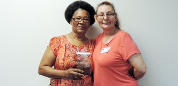 Exchange Sunshine Home Apartments Volunteer Eveth Duncombe, LEFT, receives the Noon Exchange Club of Copperas Cove Senior Citizen of the Quarter award from Board Member Angela Fields, RIGHT, during the May 26 Noon Exchange Club of Copper