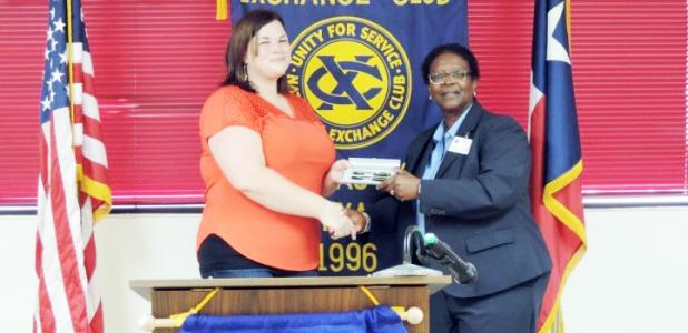 Copperas Cove City Planner Charlotte Hitchman, LEFT, receives an Exchange Club Pen Set from Noon Exchange Club of Copperas Cove President Inez Faison. Hitchman served as presenter for the Noon Exchange Club of Copperas Cove during the May 26 meeting.