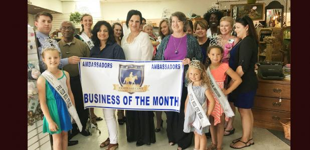 COURTESY PHOTO <p> The Copperas Cove Chamber of Commerce Ambassadors selected Decor and More as the business of the month for July.  Pictured with the Ambassadors are royalty from the Five Hills Scholarship Program.