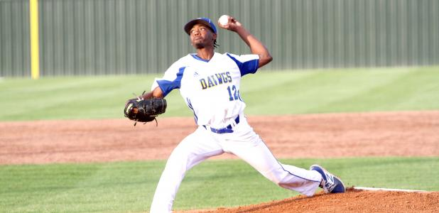 CCLP/TJ MAXWELL <br>Copperas Cove junior lefty Jaylen Smith makes a throw to home plate during the Bulldawgs' 1-0 loss to the Harker Heights Knights Thursday at Bulldawg Field. Smith surrendered just three hits in a pitcher's duel against harker Heights senior ace Daniel Cole