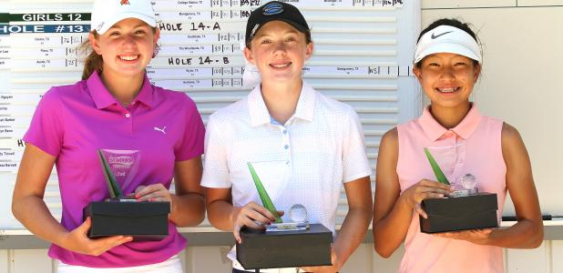 CCLP/TJ MAXWELL - Elle Fox, center, poses with runner-up Lilly Whitley of Edmond, OK and third-place finisher Eubin Shim of Waco.