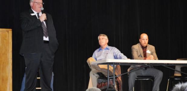 J.D. Sheffield and Howard Ray listen as Danny Pelton answers a question at Tuesday's candidate forum in Gatesville. The three are vying for the District 59 seat in the Texas House of Representatives.