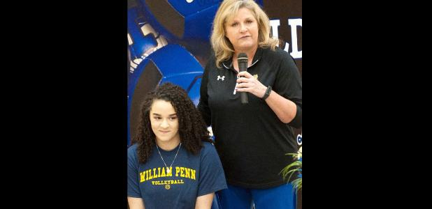 CCLP/DAVID MORRIS - Copperas Cove head volleyball coach Cari Lowery talks about Kianna Childers during the afternoon signing ceremony Wednesday at the school.