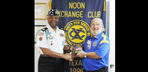 Courtesy Photo - Korean War Veterans Association President Eddie Bell Sr. receives a gift from Noon Exchange Club of Copperas Cove Past President Dennis Ayres during club's September 23 meeting.