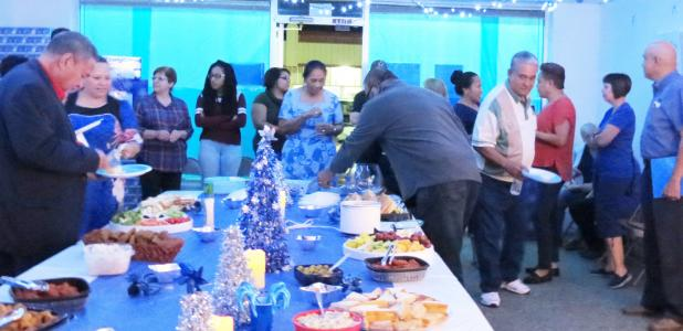 CCLP/DAVID J. HARDIN - Local residents and volunteers of the Blue Santa of Copperas Cove enjoy food, friendship, and giving, as Blue Santa held its annual open house to kickoff the season of collecting toys and donations, for kids who are in need this holiday season.