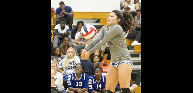 CCLP/TJ MAXWELL - Copperas Cove senior libero Madison Wasiak makes a pass during their 3-0 (27-25, 25-22, 25-17) sweep of Shoemaker.