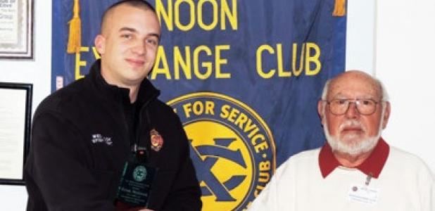 President Elect of the Noon Exchange Club of Copperas Cove Sandhor Vegh presents Firefighter Ethan Westbrook the Firefighter of the Quarter Award during the Jan. 24 meeting.