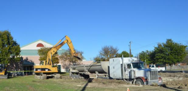 CCLP/LYNETTE SOWELL - Site preparation work began this week for the future information systems building for the City of Copperas Cove. The site work will take several weeks, after which the new building will be installed at the lot.