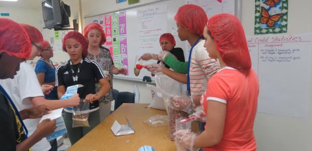CCLP/BRITTANY FHOLER - Students assembled 75 bags of lentil soup to be donated to a local food bank at the first meeting for the Chick-fil-A Leader Academy held Monday evening at the Copperas Cove High School.