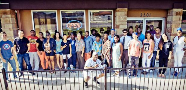 "Courtesy/Cinemahill Studios - The cast and crew of ""1040 Not So EZ"" gathered for script readings for several months at the Copperas Cove Shipley Do-Nuts. The feature film debuts Thursday night at Cinergy Cinema."