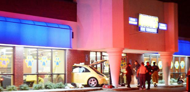 CCLP/LYNETTE SOWELL - The driver of a Volkswagen Beetle crashed the vehicle through the front entrance and windows at Buddy's Home Furnishings shortly before 9 p.m. Sunday night. The store is located at 309 E. Business 190. According to Sgt. Martin Ruiz with the Copperas Cove Police Department, the driver lost control of the vehicle after possibly having a medical emergency and could not stop before striking the building. No one was injured.