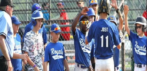 12U Cove Royals Colby Jost is wlecomed home after connecting on his fourth home run in two days during their 7-5 win over the Hillsboro Bobcats during the 2014 Texas Teenage 12U Open Base State Tournament in Beltonon Wednesday. Jost had two home runs on Tuesday against the Belton Angels and followed it up with two more on Wednesday against the Bobcats.