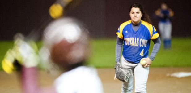 Junior Carlee Duran stares in for a sign as she prepares to pitch in the first inning of play Tuesday. Duran struck out six in five innings of work.