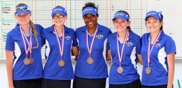 The Cove girls golf team finished third at the District 8-5A Girls Golf Tournament at the Stonetree Golf Course in Killeen on Thursday. Pictured are, from left, Mikayla Miller, Hannah Stock, Katherine Myers, Meagan Shuck and Tyler Morrison. Morrison's two-day total of 169 earns her a trip to the Region I tournament in Lubbock April 14-15.