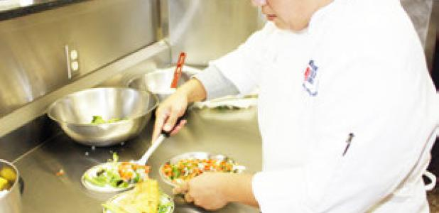 CTC culinary art students practice plating cajun sytle meals this week, preparing for tonights Patio Café.