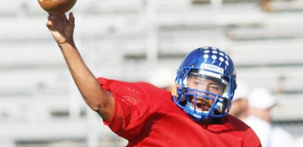 Copperas Cove junior quarterback Manny Harris makes a throw during 7-on-7 drills as part of practice on Wednesday at Bulldawg Stadium.