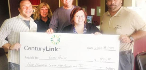 CenturyLink employees Becky Bennett, Jason Loden, Kallie Patterson and Greg Bolenbeck, presented a check for $475 to Cove House Executive Director Benjamin Tindall (left). The donation represents approximately 3,500 meals for the community.