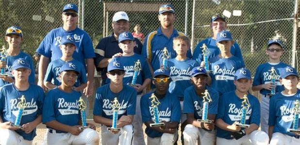 The 12U Cove Royals pose with the District Champion trophies after dominating the field in he District 4 12U Texas Teenage Baseball Tournament last week in Lampasas. The Royals out-scored their opponents 48-2 en route to the title.
