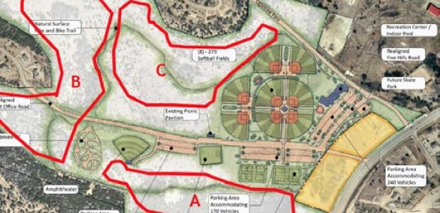 The preliminary master plan for Ogletree Gap includes several baseball and softball fields along with three areas that could be developed into a frisbee golf course.