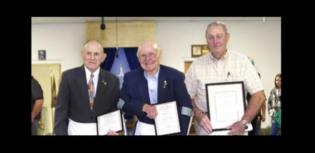 Walter L. Prugh, left, Mayor John A. Hull and Lynn C. Cox received their 50-year distinguished member awards from Mt. Hiram Masonic Lodge 595 in January 2013.