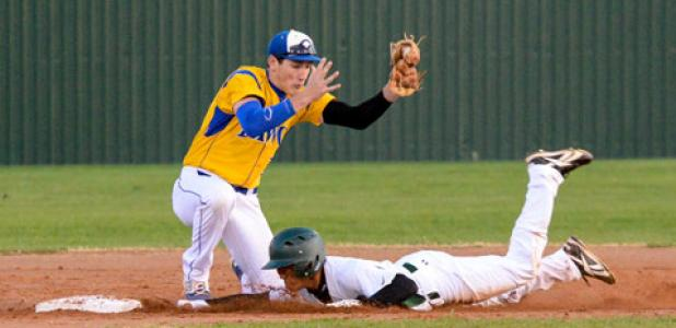 Copperas Cove second baseman Kyle Winstead corrals a throw to second as he attempts to tag out and Ellison base runner Tuesday evening. Cove dropped the road game 9-7.