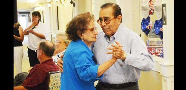 Frances and John Juarez cut the rug during the big band music at the Spirit of '45 celebration.