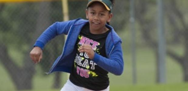 Gabriella Emeana, 8, of Copperas Cove runds third base as she competes in the MLB Pitch Hit and Run competition on April 5 in Copperas Cove.