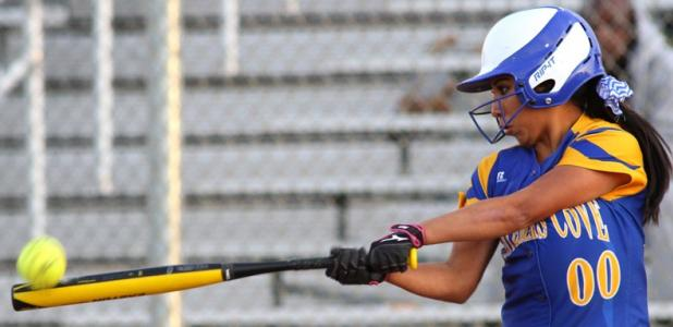 Copperas Cove senior Irene Espinoza makes contact with the ball in the first inning of their 16-0 mercy rule win over Killeen on Tuesday.