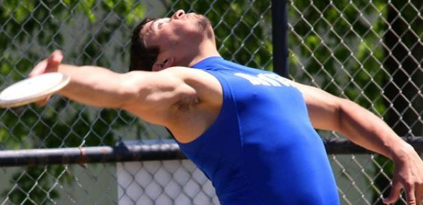 Copperas Cove senior Gabe Perez launches the discus in the finals on his way to a gold medal with a throw of 165 feet, one inch during the 7-5A and 8-5A Area Track and Field Meet Tuesday at Midway High School in Waco.